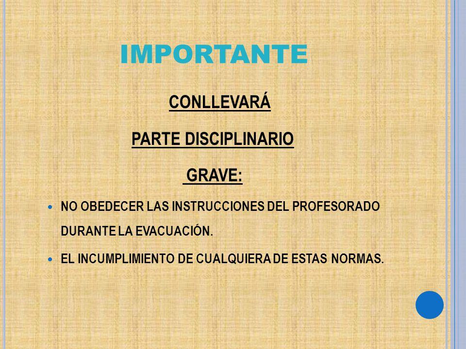 IMPORTANTE PARTE DISCIPLINARIO GRAVE: CONLLEVARÁ