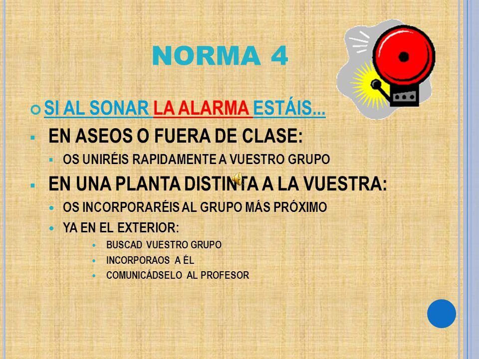 NORMA 4 SI AL SONAR LA ALARMA ESTÁIS... EN ASEOS O FUERA DE CLASE: