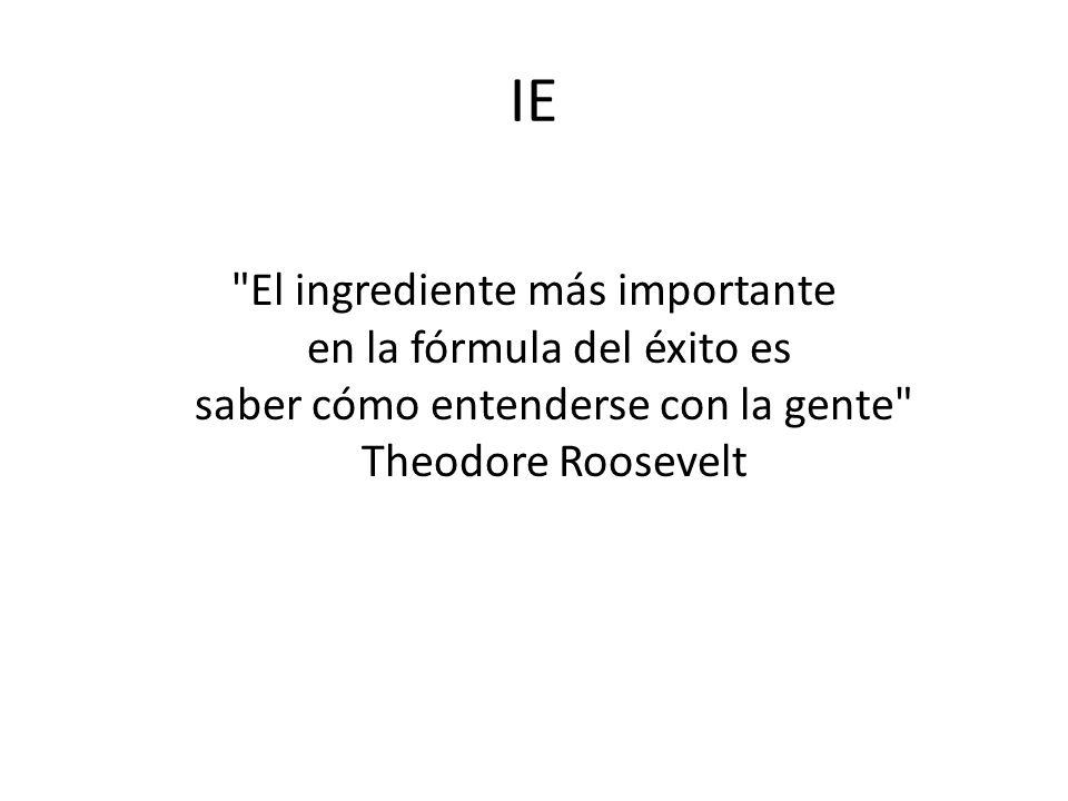 IE El ingrediente más importante en la fórmula del éxito es saber cómo entenderse con la gente Theodore Roosevelt.