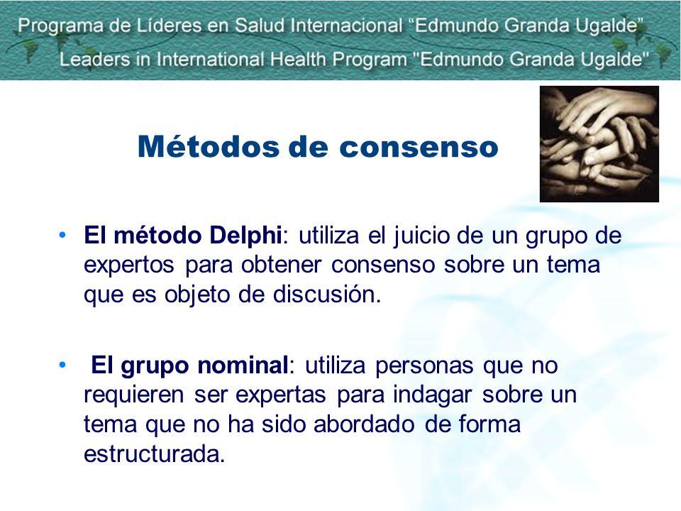 Métodos de consensoEl método Delphi: utiliza el juicio de un grupo de expertos para obtener consenso sobre un tema que es objeto de discusión.