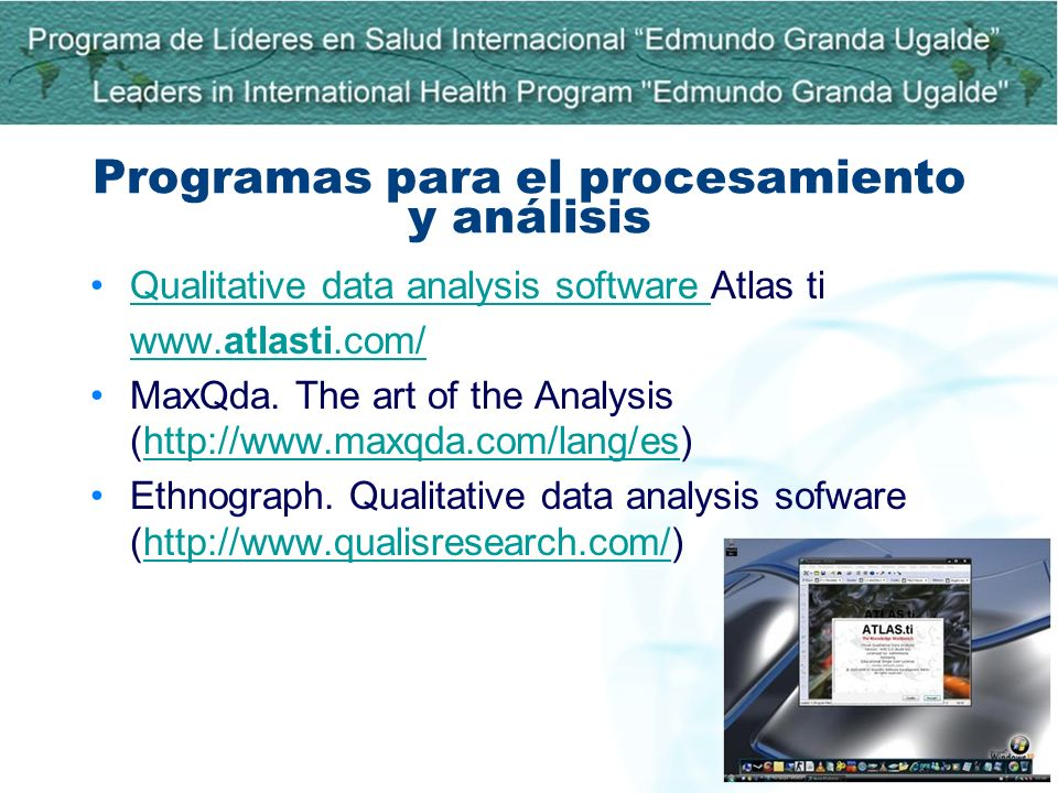 Programas para el procesamiento y análisis