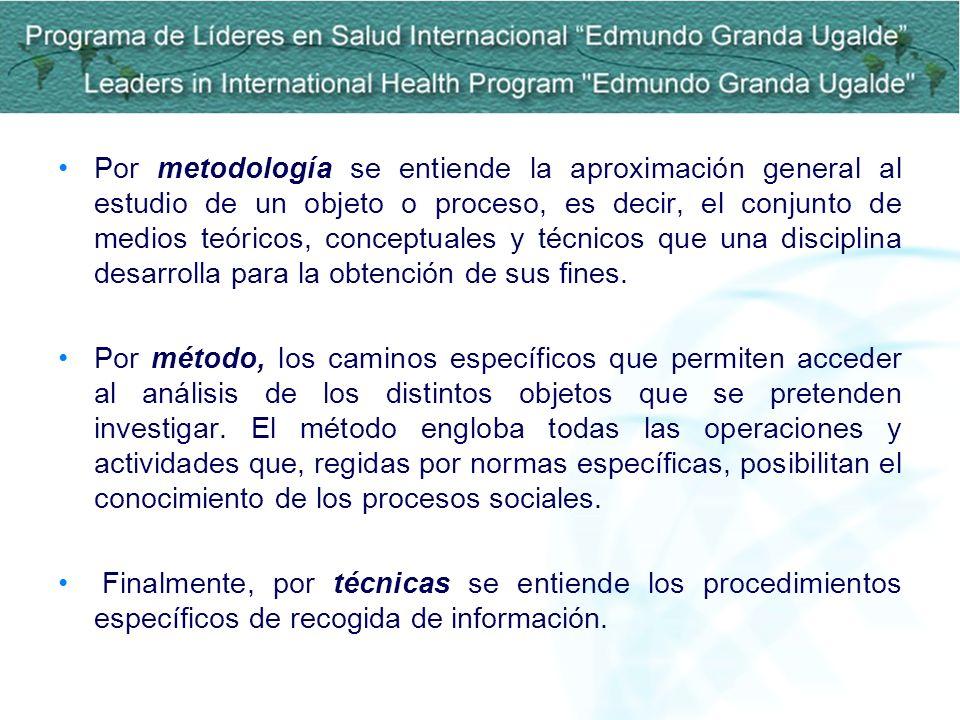 Por metodología se entiende la aproximación general al estudio de un objeto o proceso, es decir, el conjunto de medios teóricos, conceptuales y técnicos que una disciplina desarrolla para la obtención de sus fines.