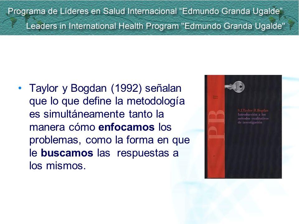 Taylor y Bogdan (1992) señalan que lo que define la metodología es simultáneamente tanto la manera cómo enfocamos los problemas, como la forma en que le buscamos las respuestas a los mismos.