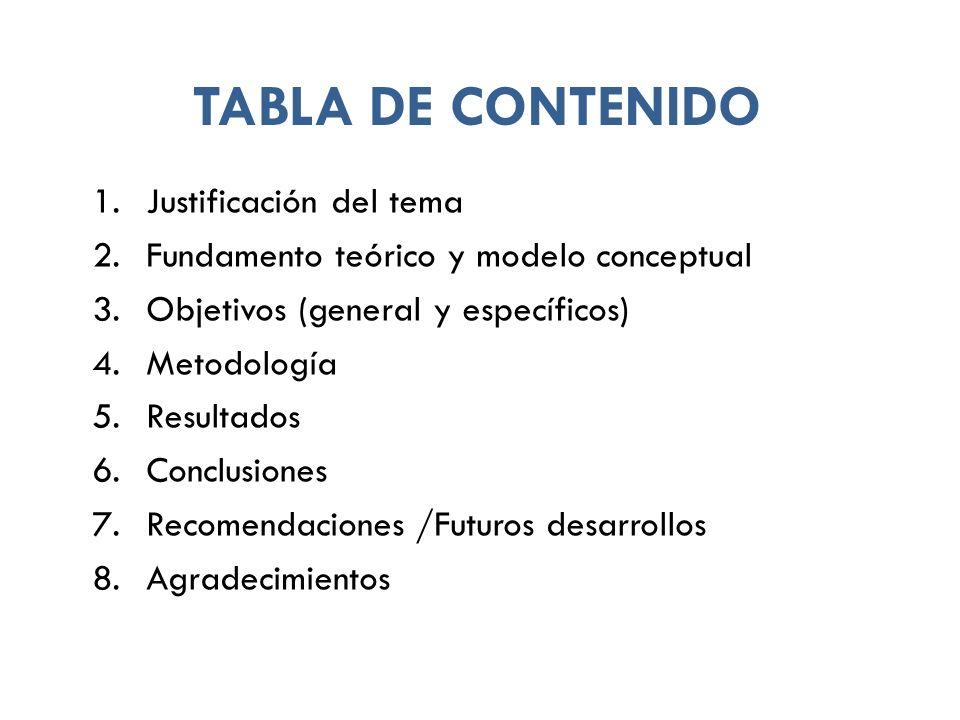 TABLA DE CONTENIDO Justificación del tema