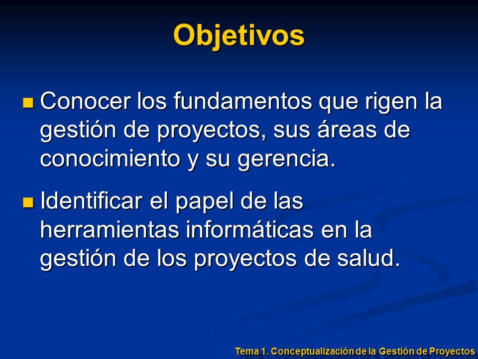 ObjetivosConocer los fundamentos que rigen la gestión de proyectos, sus áreas de conocimiento y su gerencia.