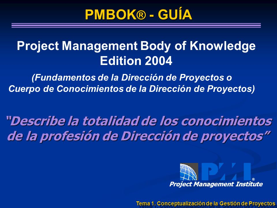 Project Management Body of Knowledge Edition 2004