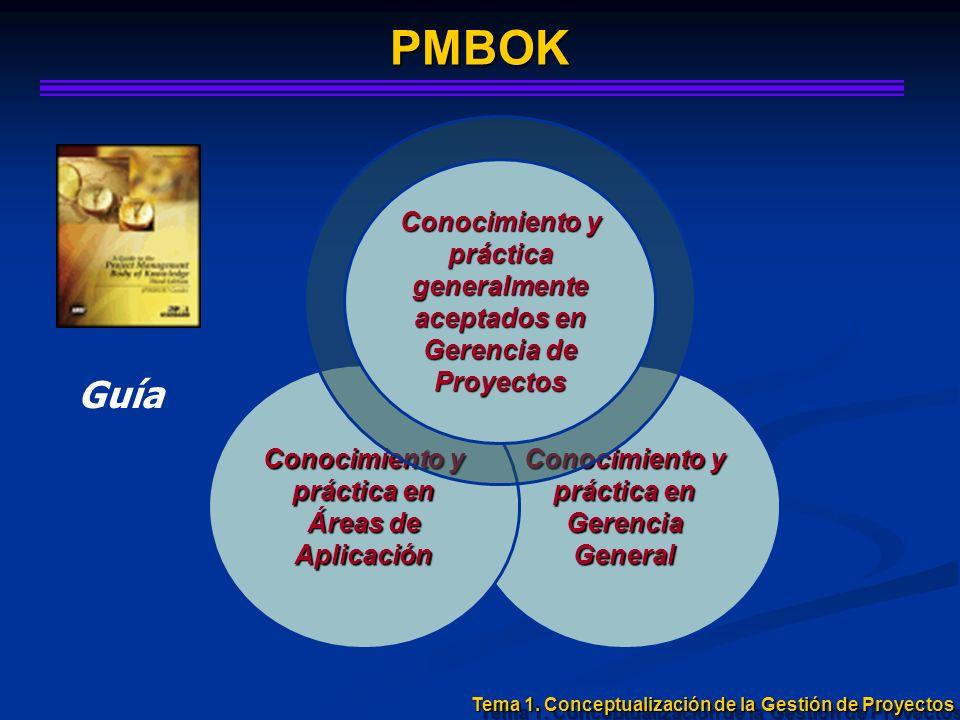 PMBOKConocimiento y práctica generalmente aceptados en Gerencia de Proyectos. Guía. Conocimiento y práctica en Áreas de Aplicación.
