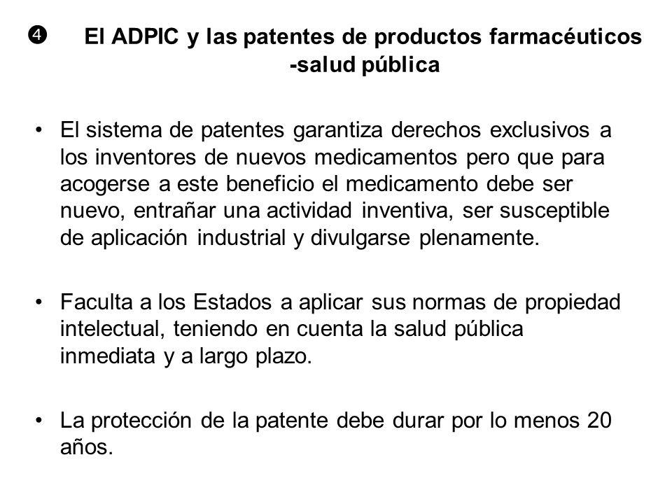  El ADPIC y las patentes de productos farmacéuticos -salud pública