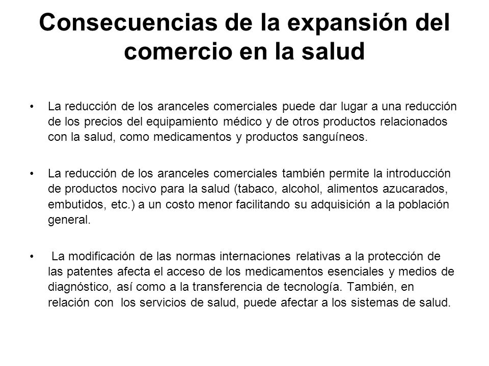 Consecuencias de la expansión del comercio en la salud
