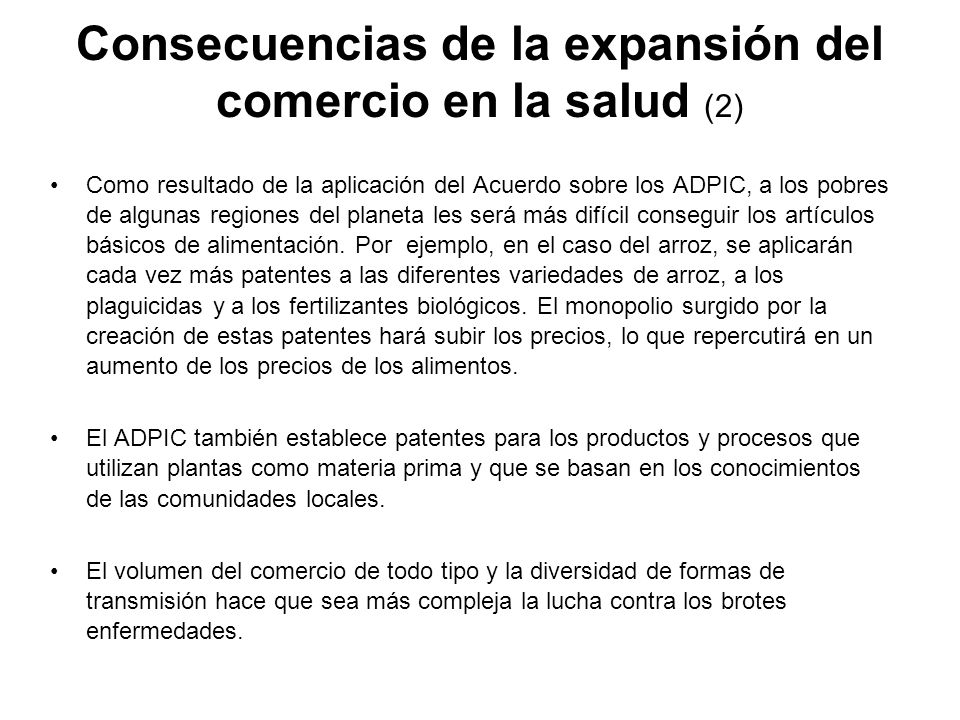 Consecuencias de la expansión del comercio en la salud (2)