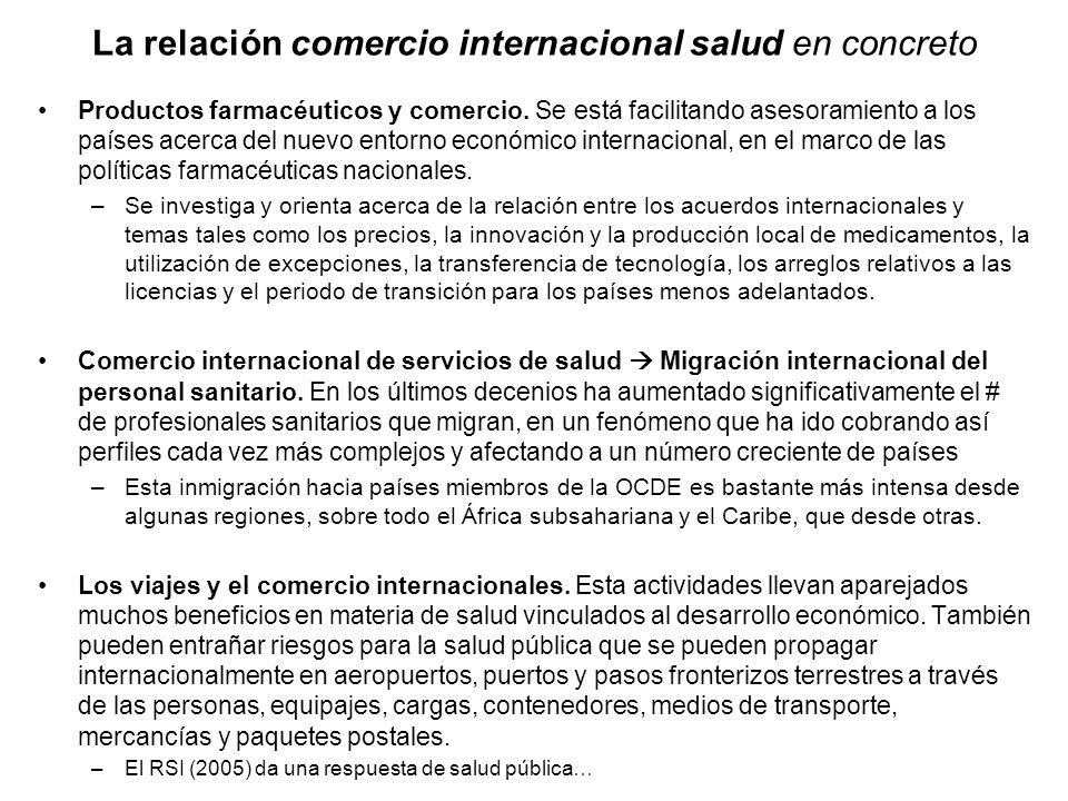 La relación comercio internacional salud en concreto