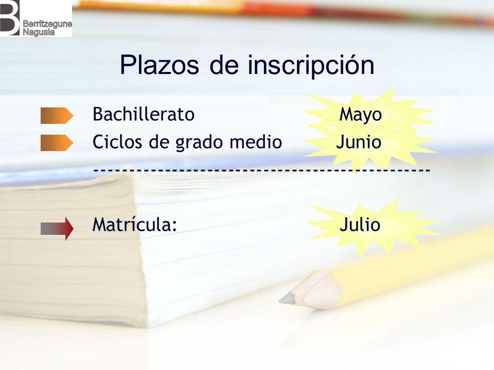 Plazos de inscripción Bachillerato Mayo Ciclos de grado medio Junio
