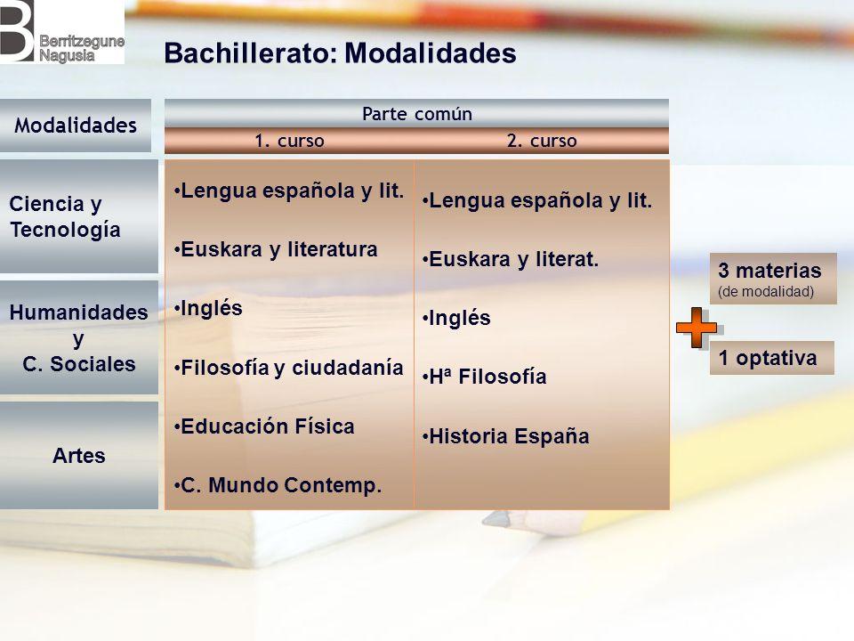 Bachillerato: Modalidades