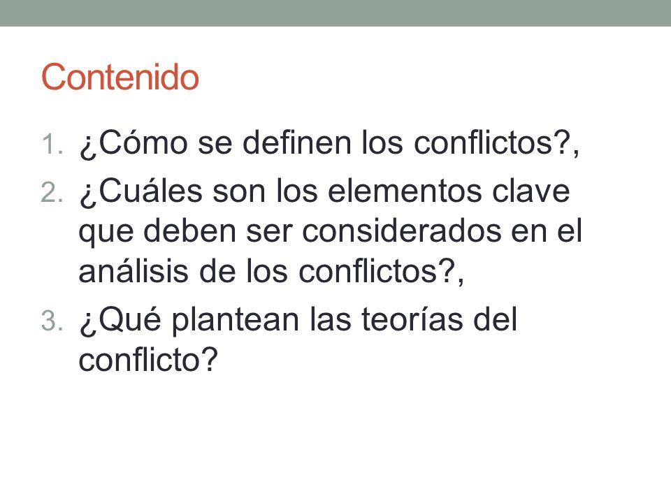 Contenido ¿Cómo se definen los conflictos ,