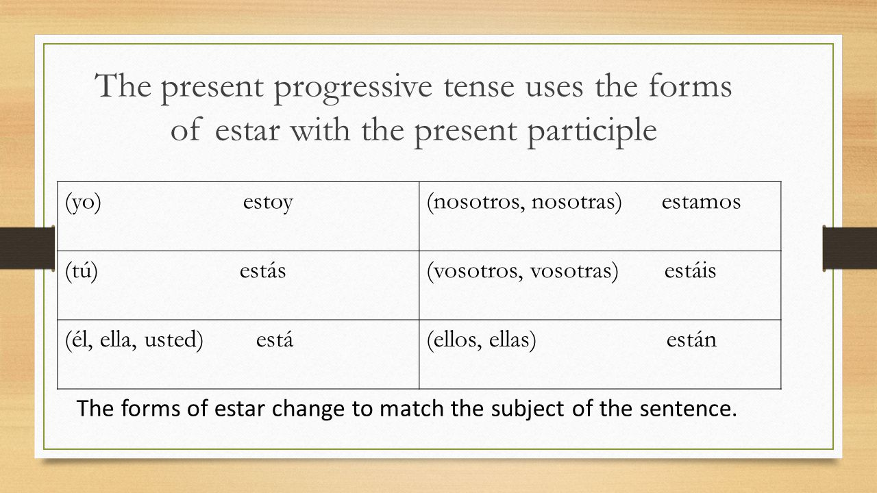 The present progressive tense uses the forms of estar with the present participle