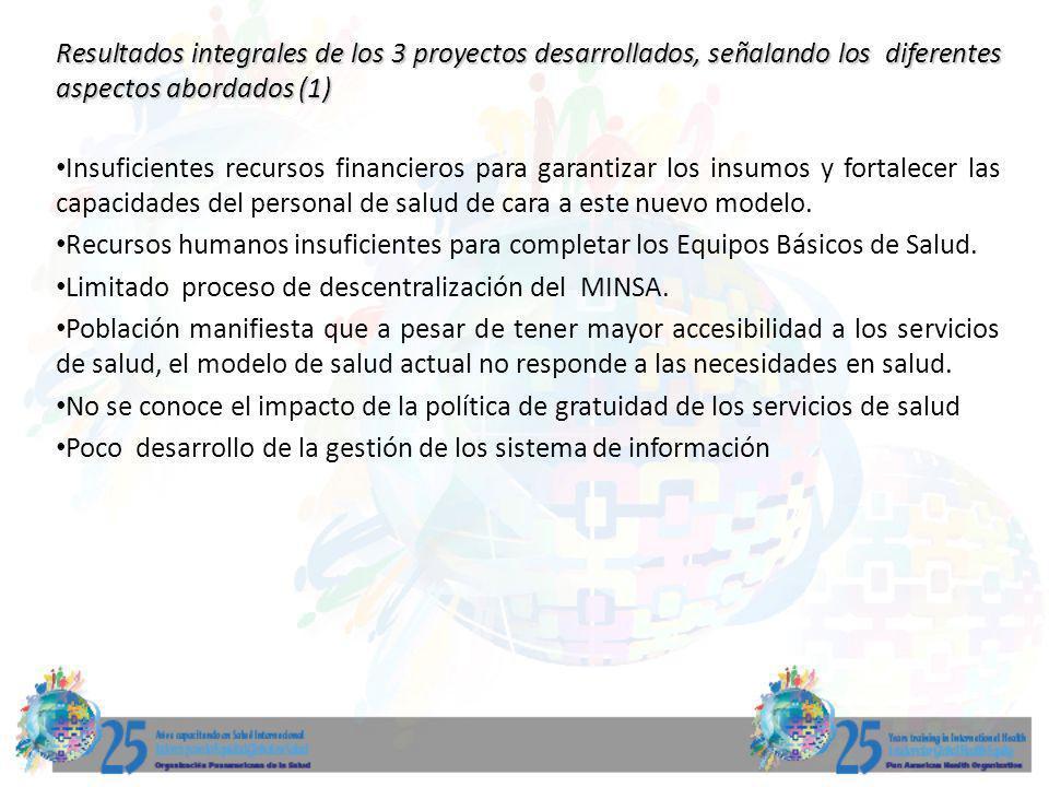 Resultados integrales de los 3 proyectos desarrollados, señalando los diferentes aspectos abordados (1)