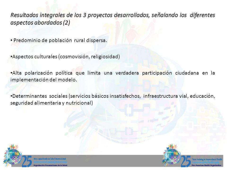 Resultados integrales de los 3 proyectos desarrollados, señalando los diferentes aspectos abordados (2)