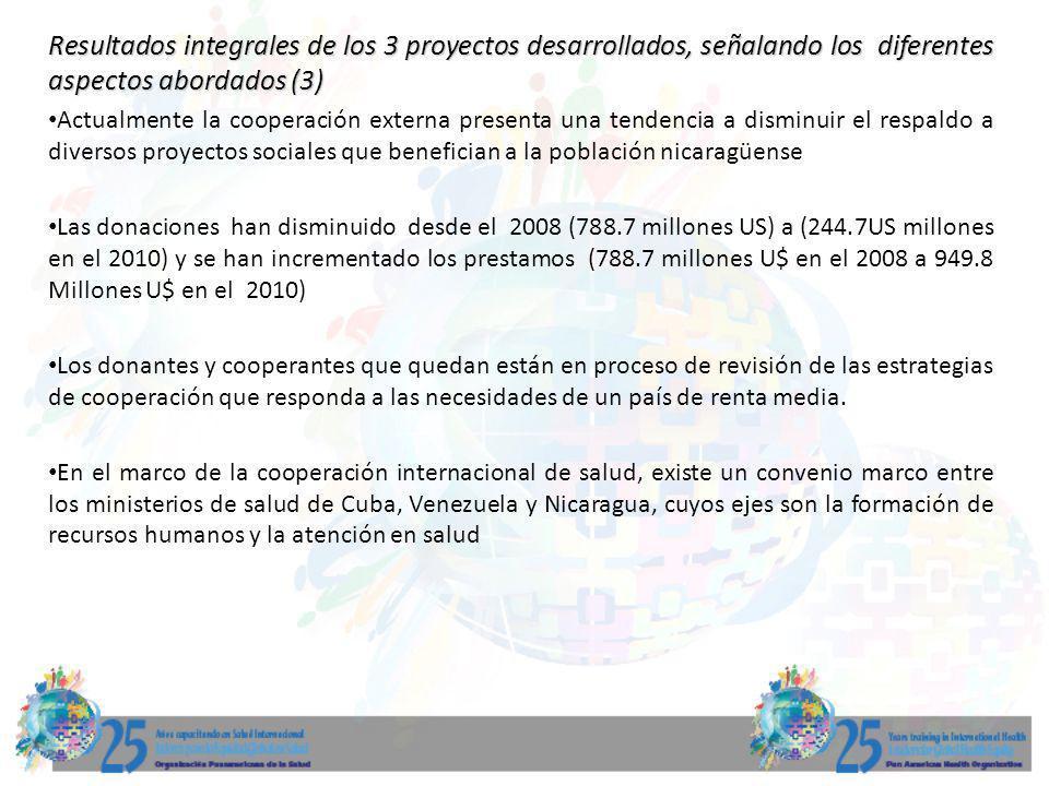 Resultados integrales de los 3 proyectos desarrollados, señalando los diferentes aspectos abordados (3)