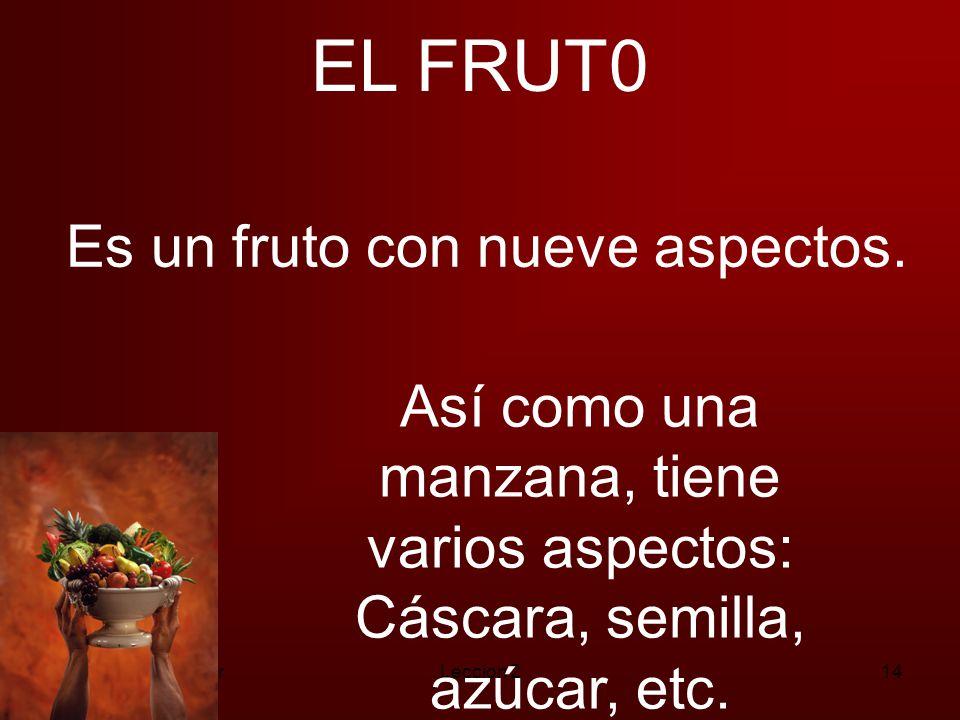 EL FRUT0 Es un fruto con nueve aspectos.