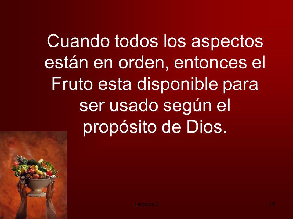 Cuando todos los aspectos están en orden, entonces el Fruto esta disponible para ser usado según el propósito de Dios.