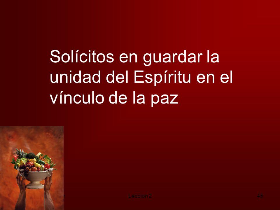 Solícitos en guardar la unidad del Espíritu en el vínculo de la paz