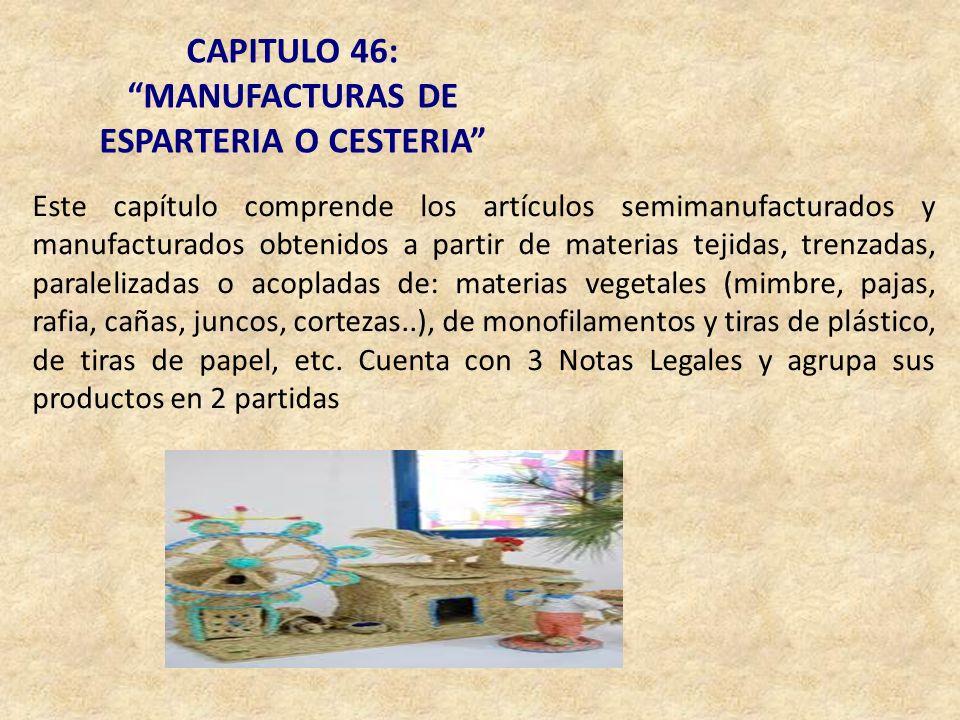 MANUFACTURAS DE ESPARTERIA O CESTERIA