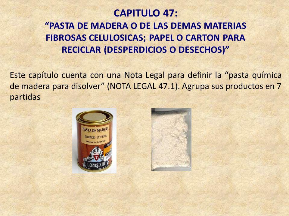 CAPITULO 47: PASTA DE MADERA O DE LAS DEMAS MATERIAS FIBROSAS CELULOSICAS; PAPEL O CARTON PARA RECICLAR (DESPERDICIOS O DESECHOS)