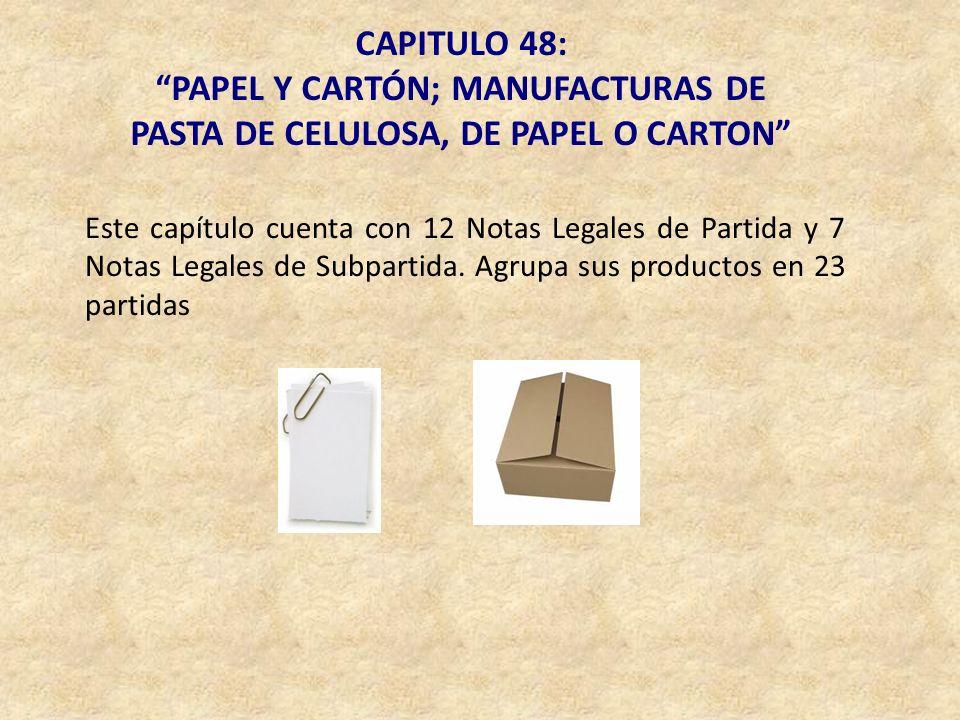 PAPEL Y CARTÓN; MANUFACTURAS DE PASTA DE CELULOSA, DE PAPEL O CARTON