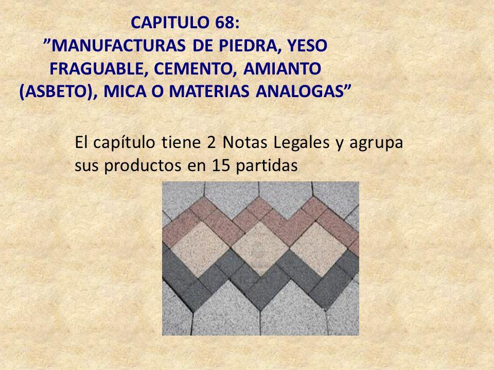 CAPITULO 68: MANUFACTURAS DE PIEDRA, YESO FRAGUABLE, CEMENTO, AMIANTO (ASBETO), MICA O MATERIAS ANALOGAS