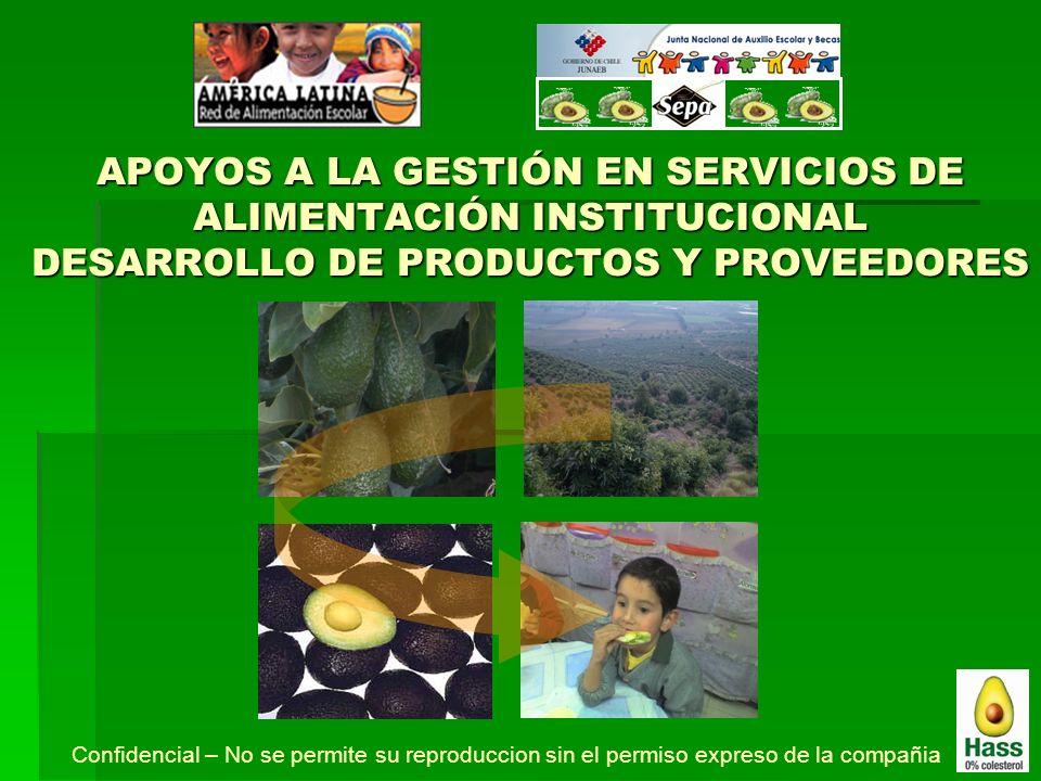 APOYOS A LA GESTIÓN EN SERVICIOS DE ALIMENTACIÓN INSTITUCIONAL DESARROLLO DE PRODUCTOS Y PROVEEDORES
