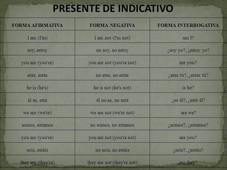 PRESENTE DE INDICATIVO