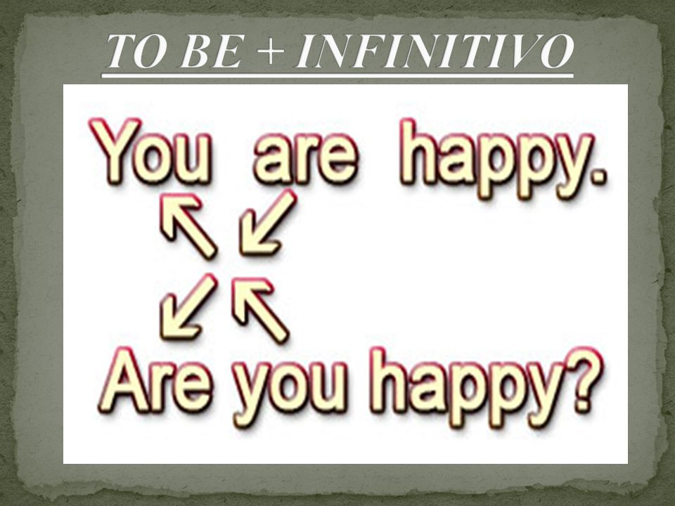 TO BE + INFINITIVO