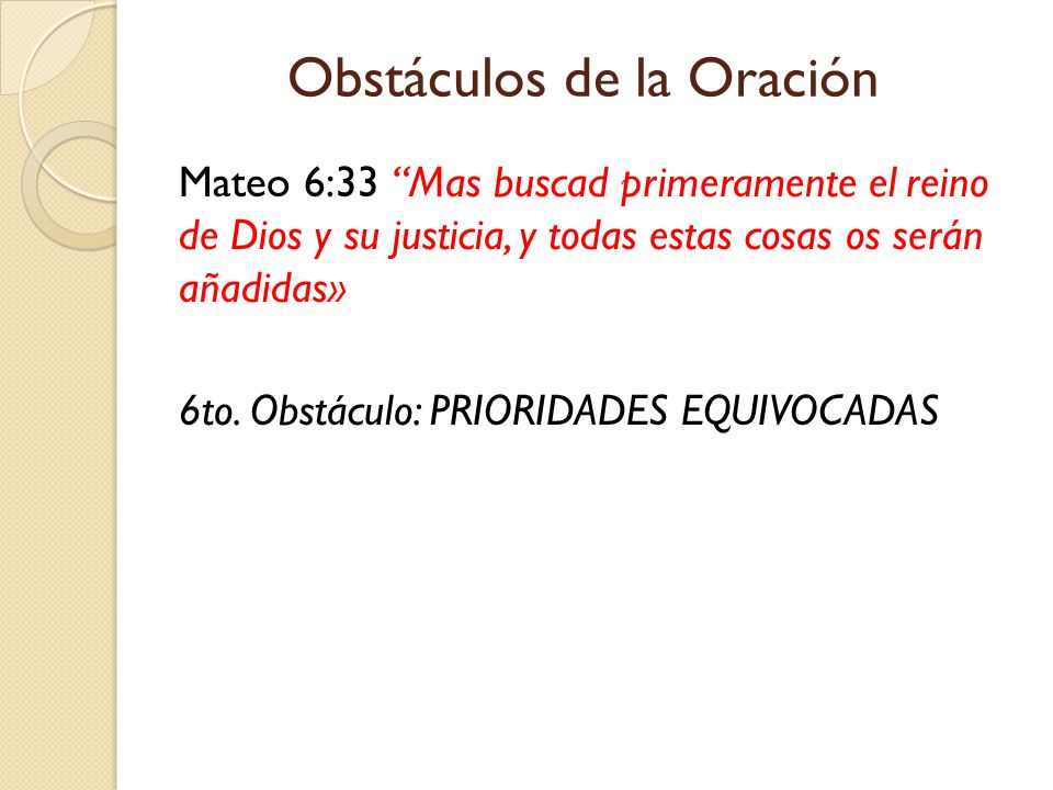 Obstáculos de la Oración