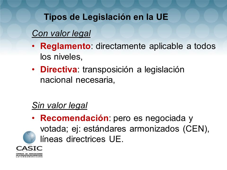 Tipos de Legislación en la UE