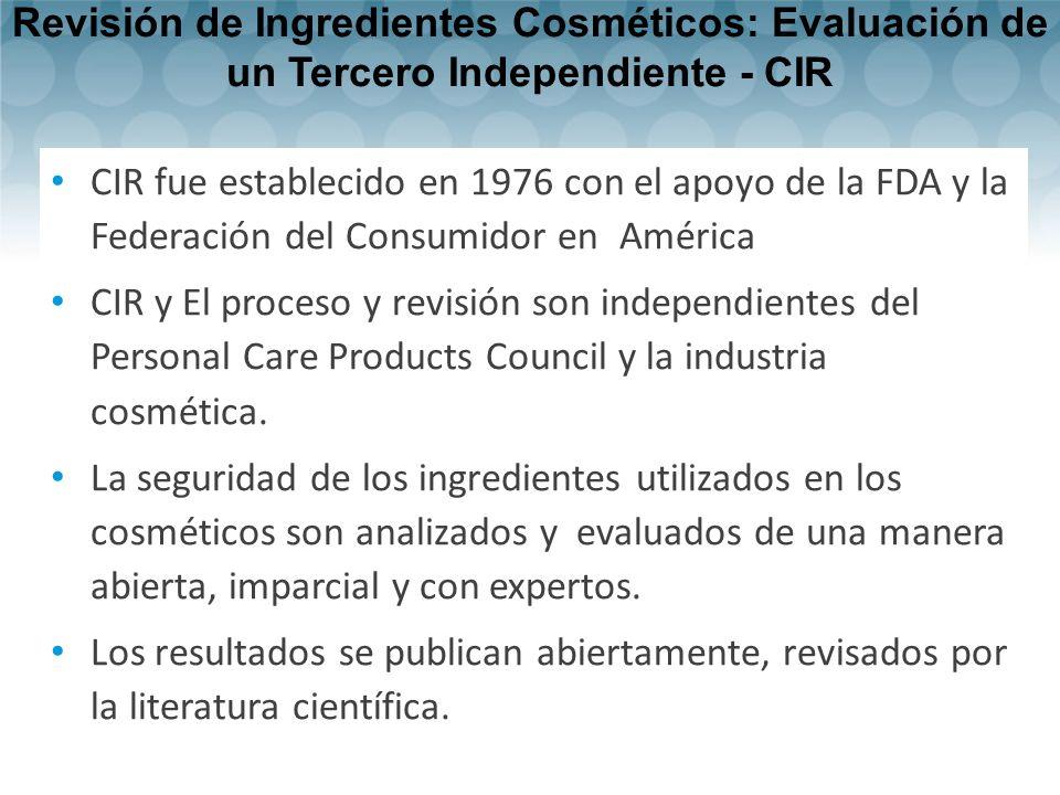 Revisión de Ingredientes Cosméticos: Evaluación de un Tercero Independiente - CIR