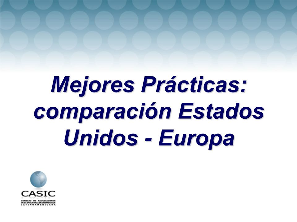 Mejores Prácticas: comparación Estados Unidos - Europa