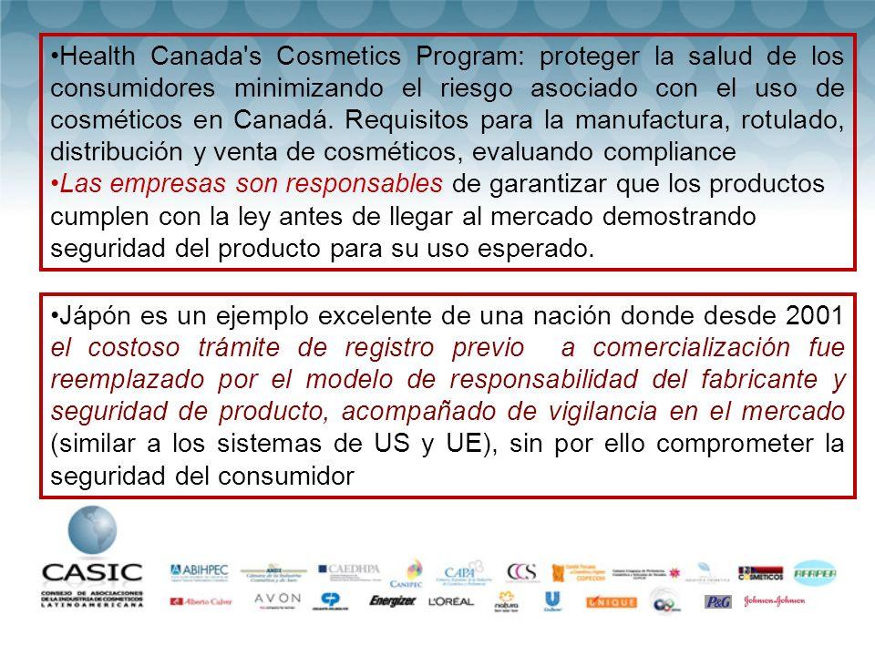 Health Canada s Cosmetics Program: proteger la salud de los consumidores minimizando el riesgo asociado con el uso de cosméticos en Canadá. Requisitos para la manufactura, rotulado, distribución y venta de cosméticos, evaluando compliance