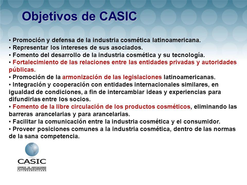 Objetivos de CASIC • Promoción y defensa de la industria cosmética latinoamericana. • Representar los intereses de sus asociados.