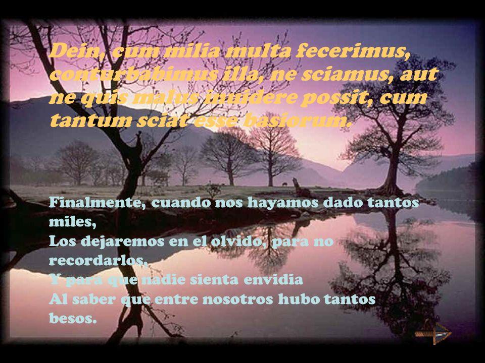 Dein, cum milia multa fecerimus, conturbabimus illa, ne sciamus, aut ne quis malus inuidere possit, cum tantum sciat esse basiorum.