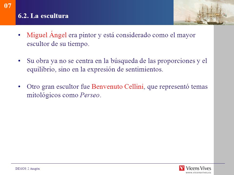 076.2. La escultura. Miguel Ángel era pintor y está considerado como el mayor escultor de su tiempo.