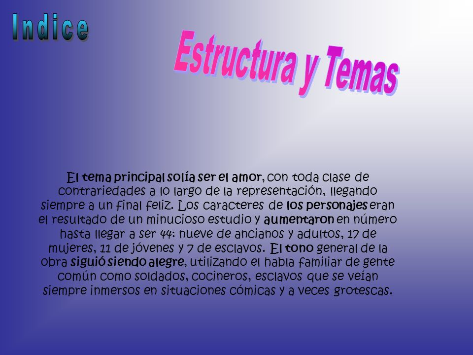 Indice Estructura y Temas