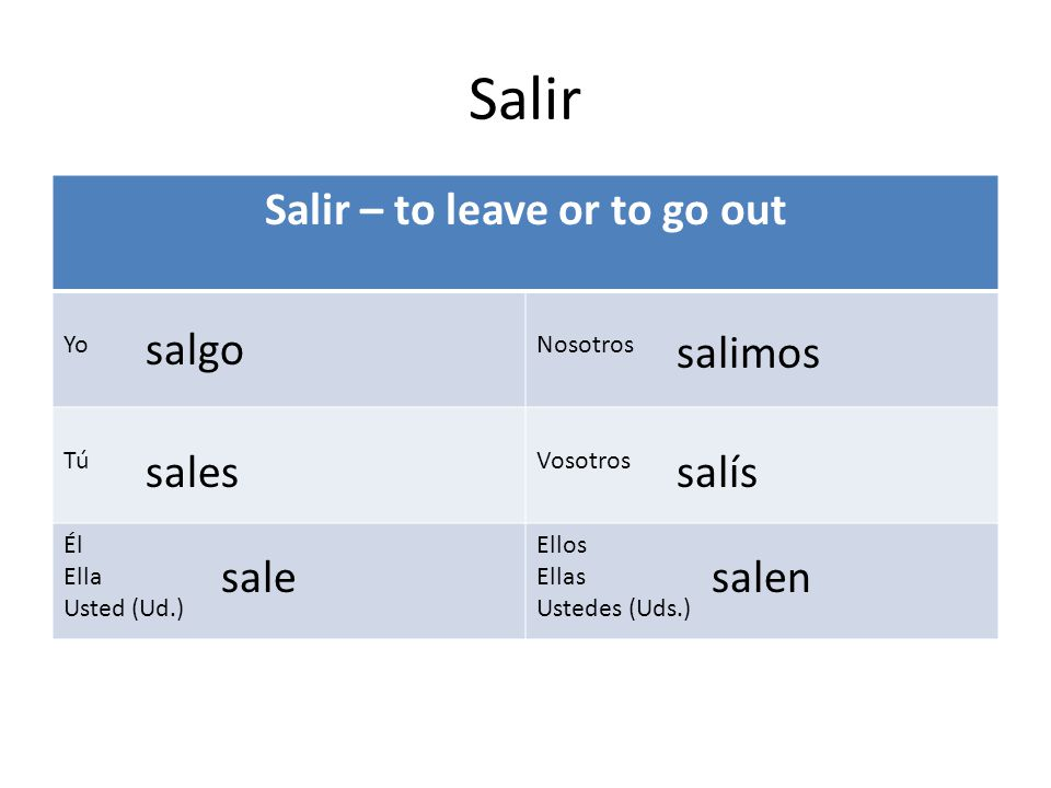 Salir – to leave or to go out
