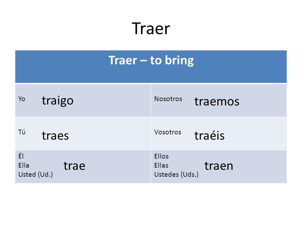 Traer Traer – to bring traigo traemos traes traéis trae traen Yo