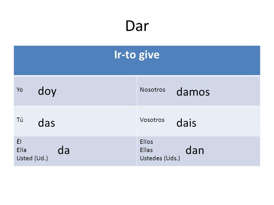 Dar Ir-to give doy damos das dais da dan Yo Nosotros Tú Vosotros Él