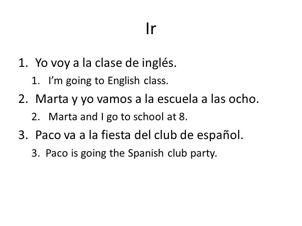 Ir Yo voy a la clase de inglés.