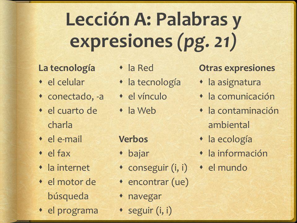 Lección A: Palabras y expresiones (pg. 21)
