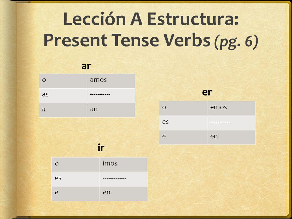 Lección A Estructura: Present Tense Verbs (pg. 6)