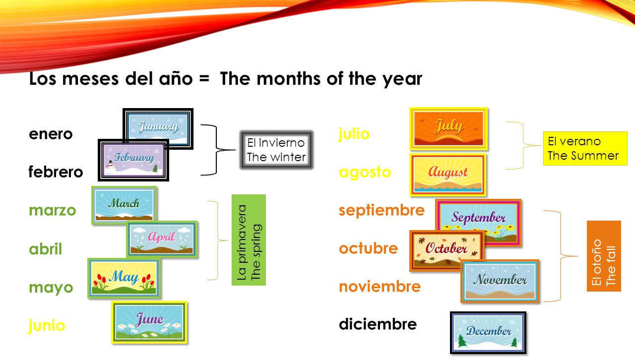 Los meses del año = The months of the year