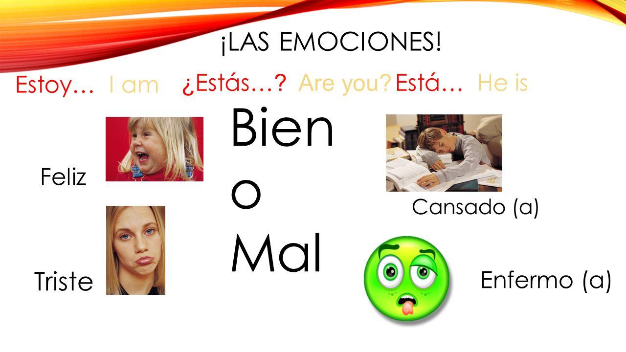 Bien o Mal ¡LAS Emociones! Triste Estoy… I am ¿Estás… Are you