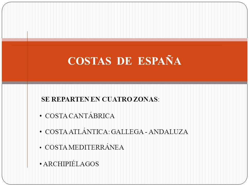 COSTAS DE ESPAÑA COSTA CANTÁBRICA COSTA ATLÁNTICA: GALLEGA - ANDALUZA